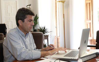 Mazón pide a Puig ayudas al turismo y un calendario de vacunación para los jóvenes